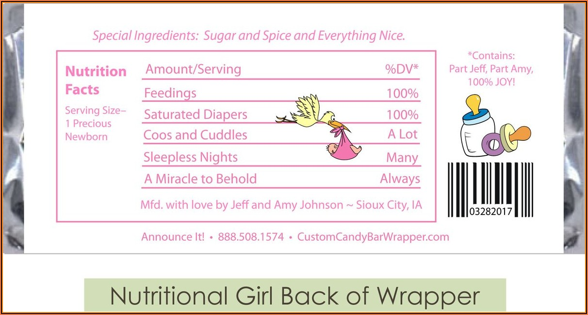 Hershey Candy Bar Wrapper Template Baby Shower