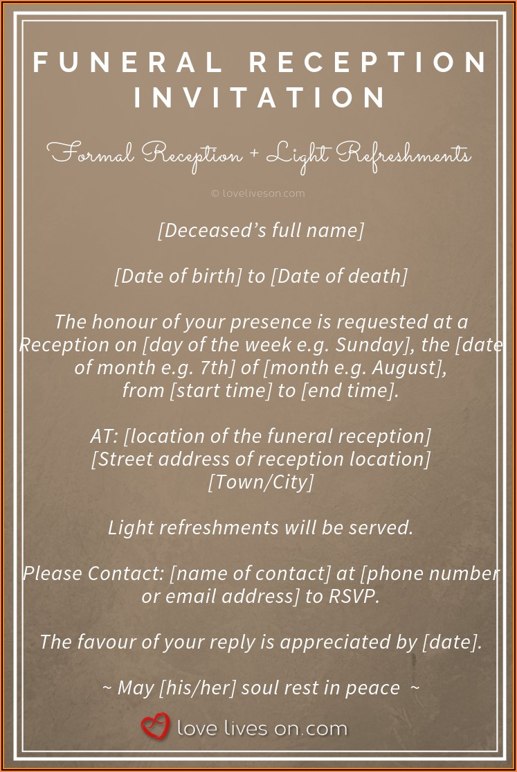 Hindu Funeral Invitation Template Free Download