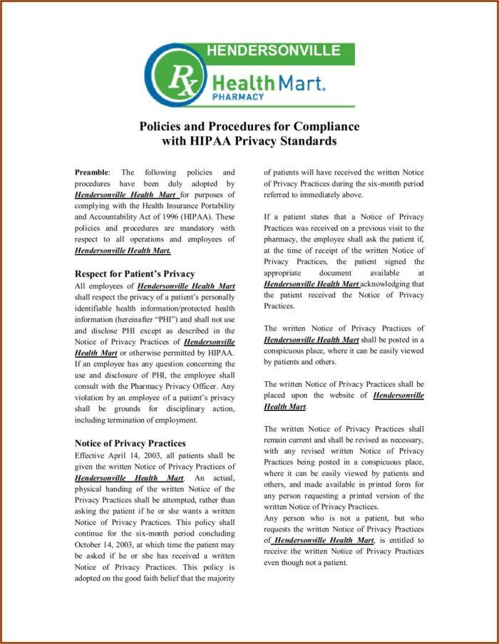 Hipaa Compliance Policies And Procedures Templates