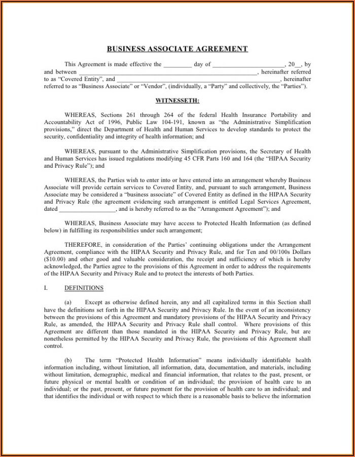Hipaa Policy Templates For Business Associates