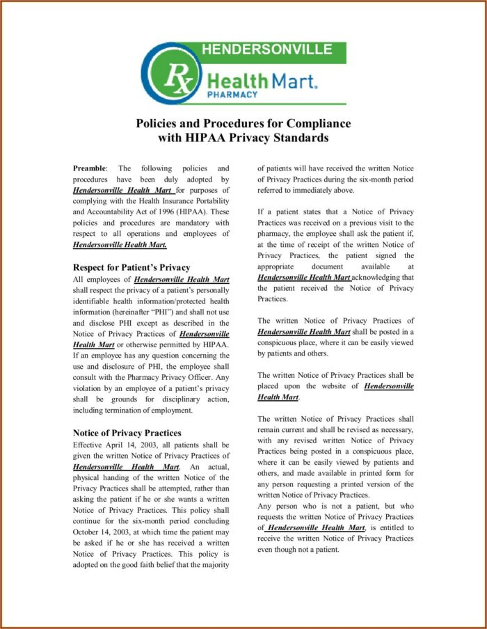 Hipaa Privacy Policies And Procedures Template