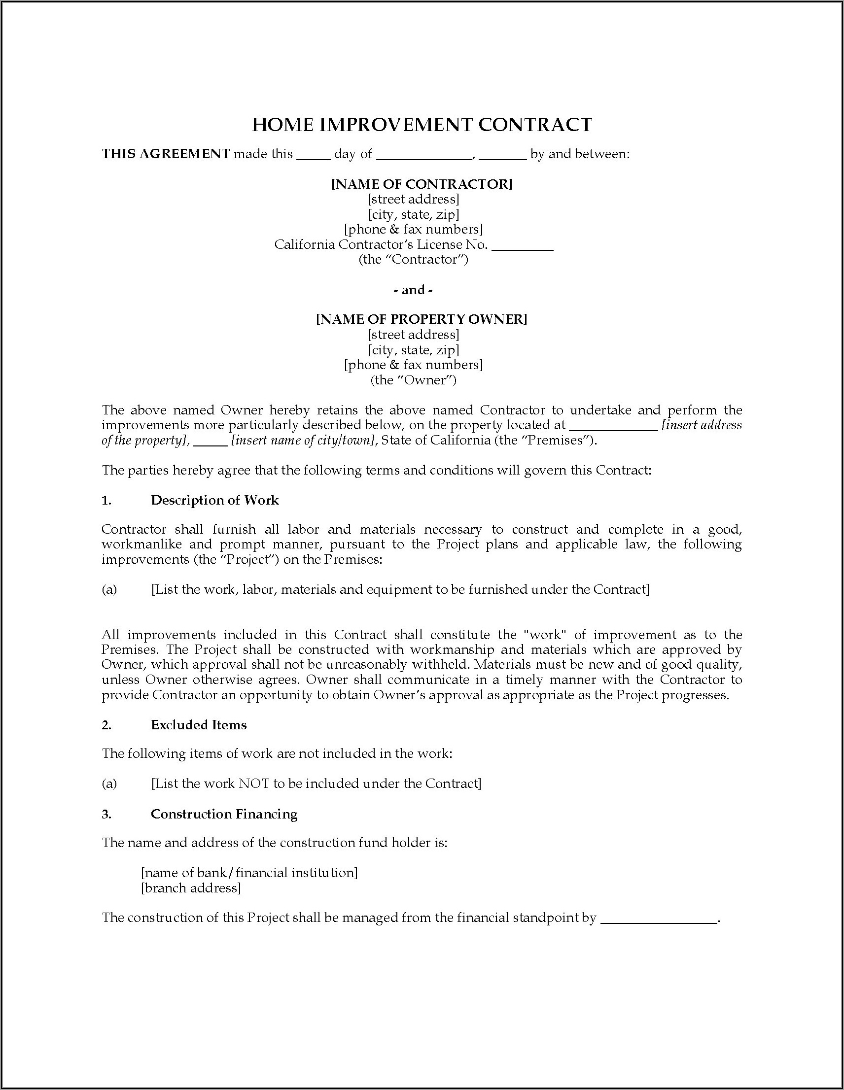 Home Improvement Contract Template Nj