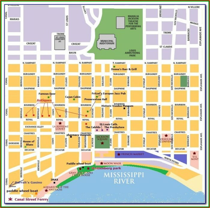 Hotels Near French Quarter New Orleans Map