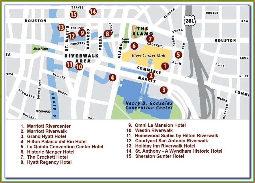 Hotels San Antonio Riverwalk Map