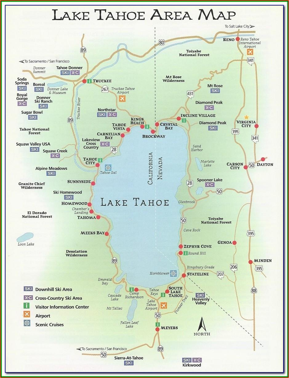 Lake Tahoe Stateline Hotels Map