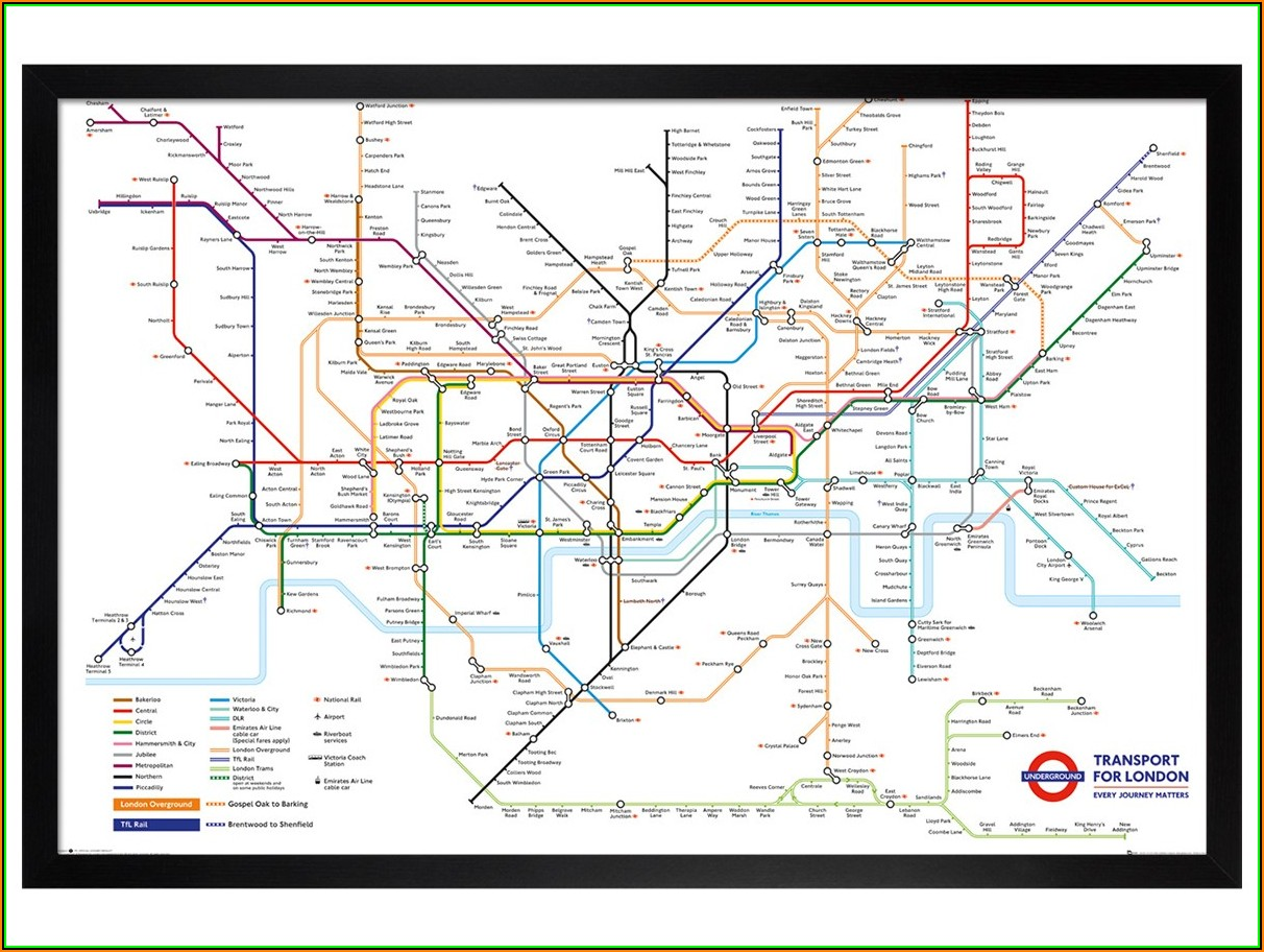 London Underground Map Poster Framed