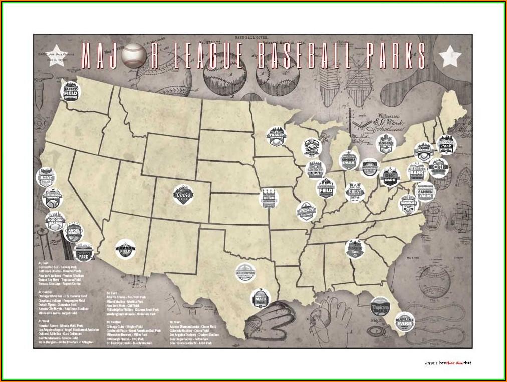 Major League Baseball Parks Map