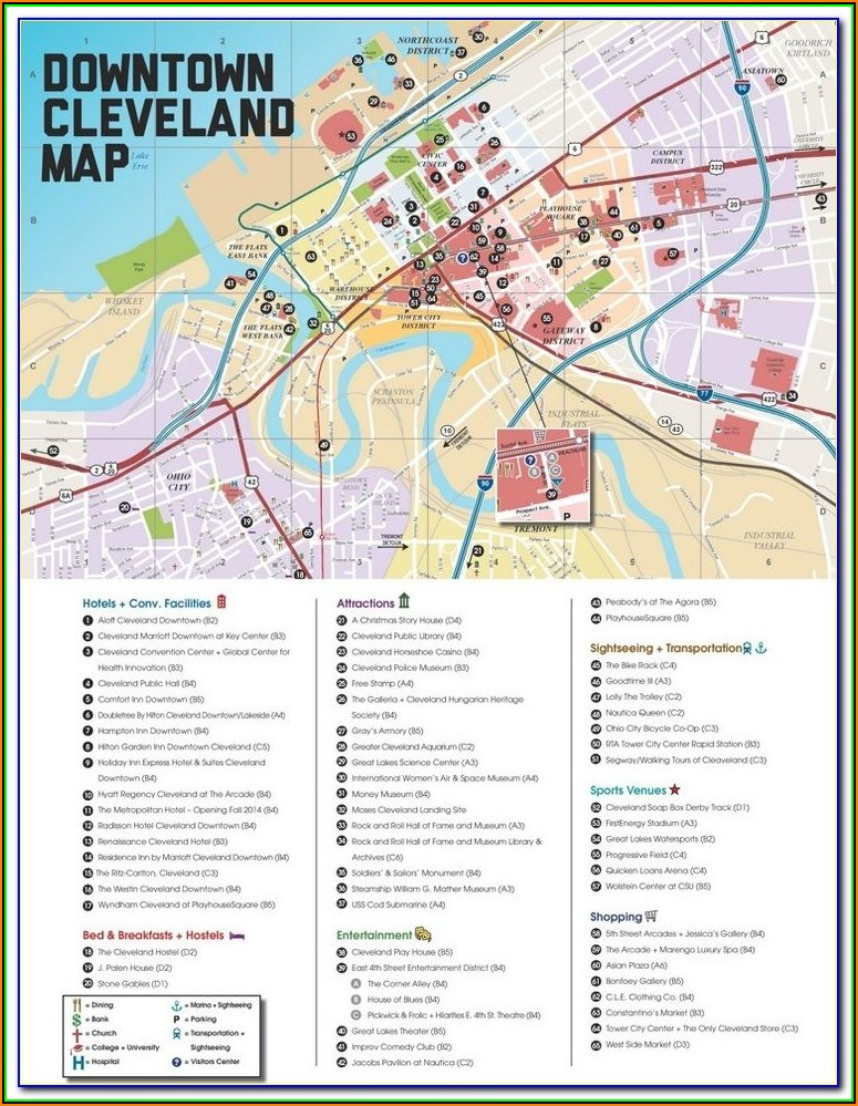 Map Downtown Cleveland Ohio Hotels