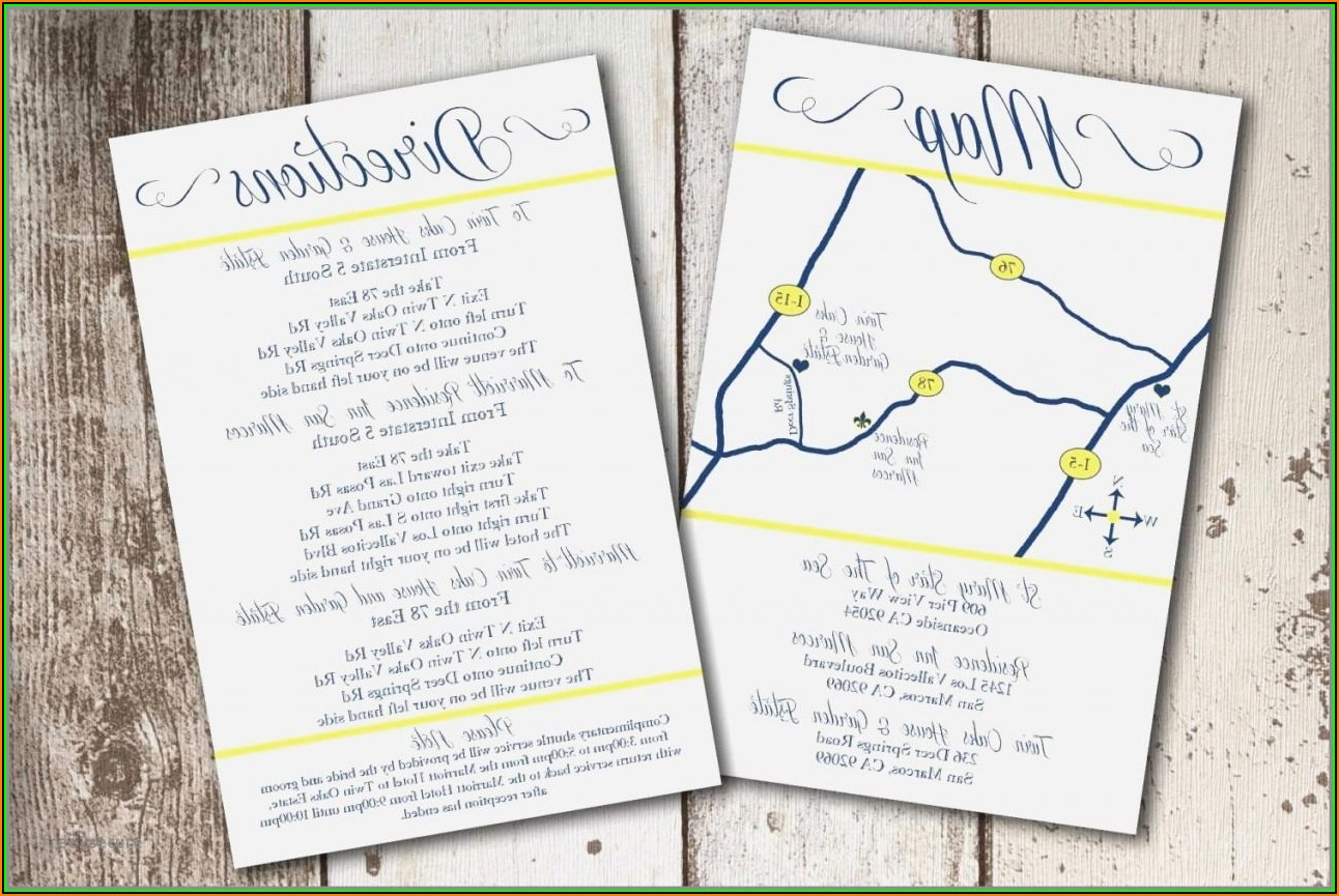 Map For Wedding Invitation Insert