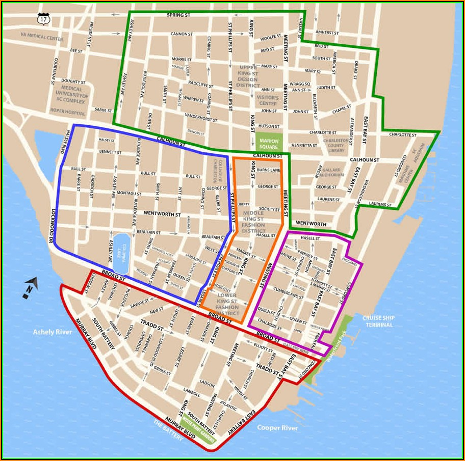 Map Of Charleston Sc Hotels And Restaurants