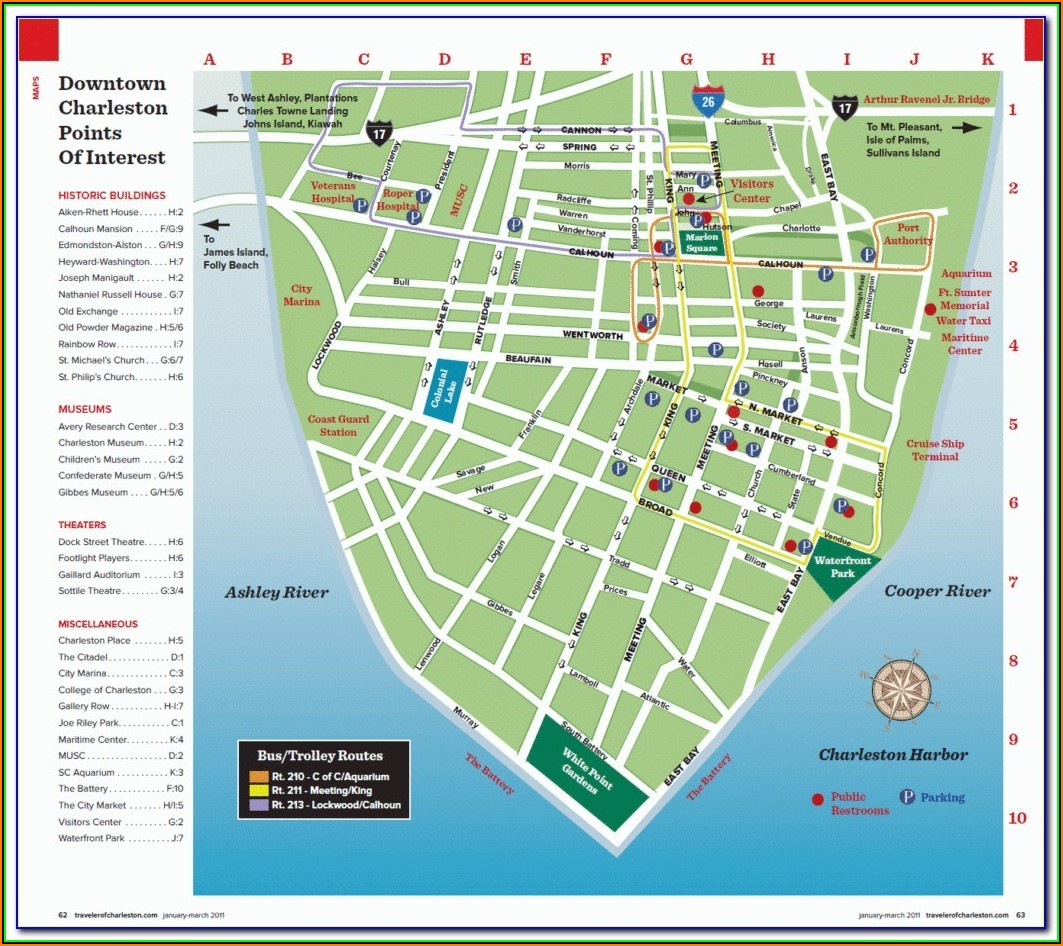 Map Of Charleston Sc Showing Hotels