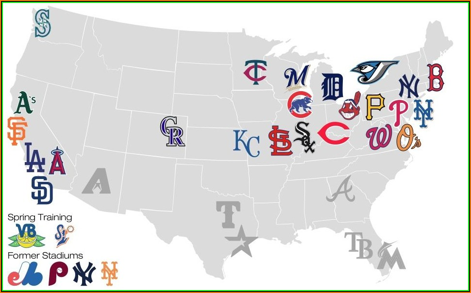 Map Of Cities With Major League Baseball Teams