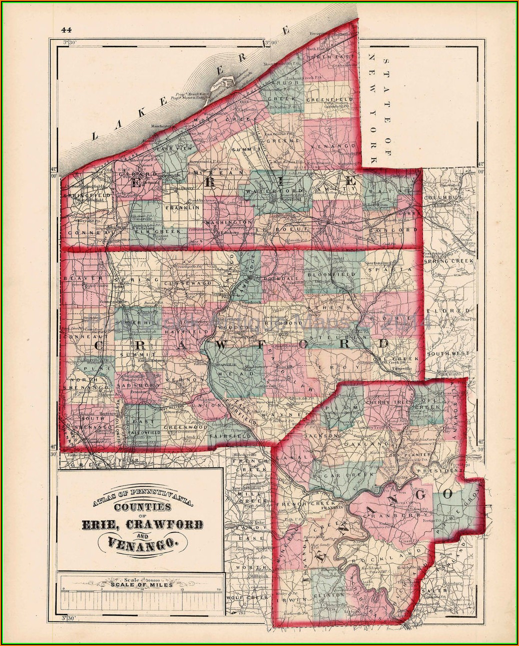 Map Of Erie And Crawford County Pa
