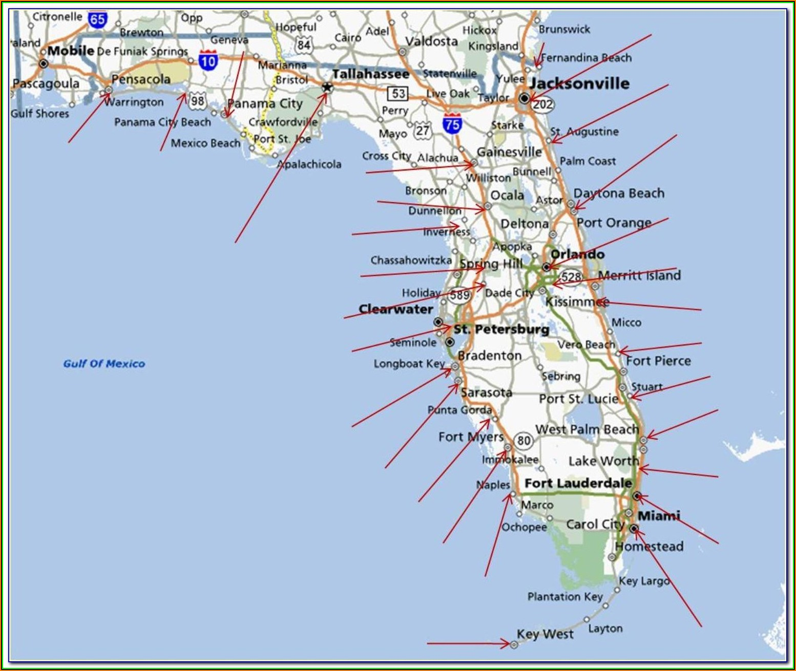 Map Of Florida Gulf Coast Beach Cities
