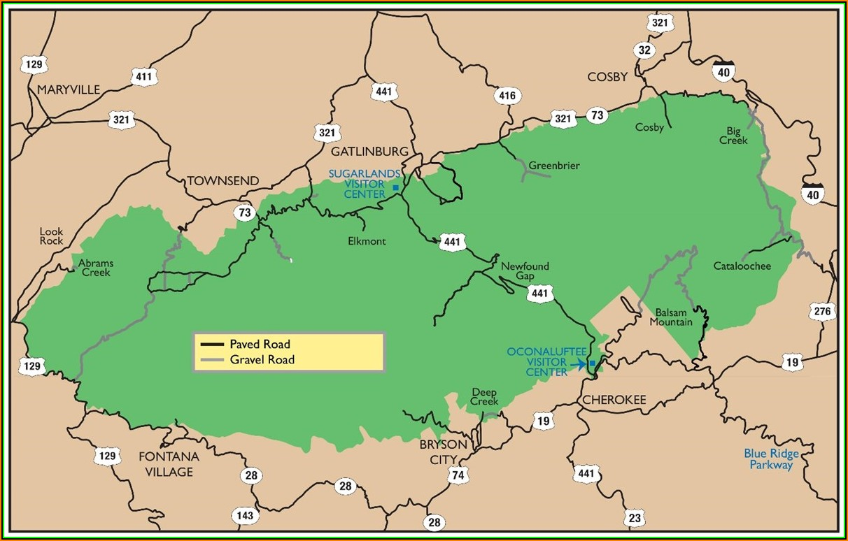 Map Of Great Smoky Mountains National Park Tn