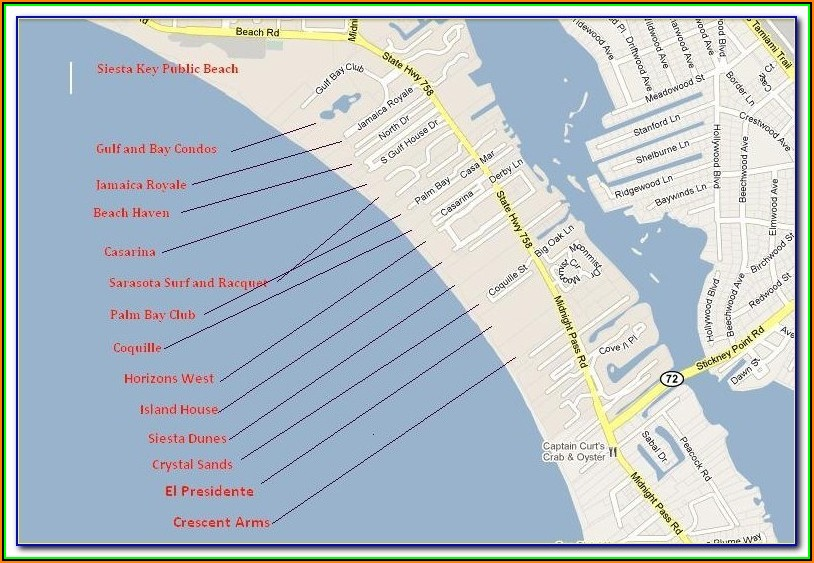 Map Of Hotels In Siesta Key Florida