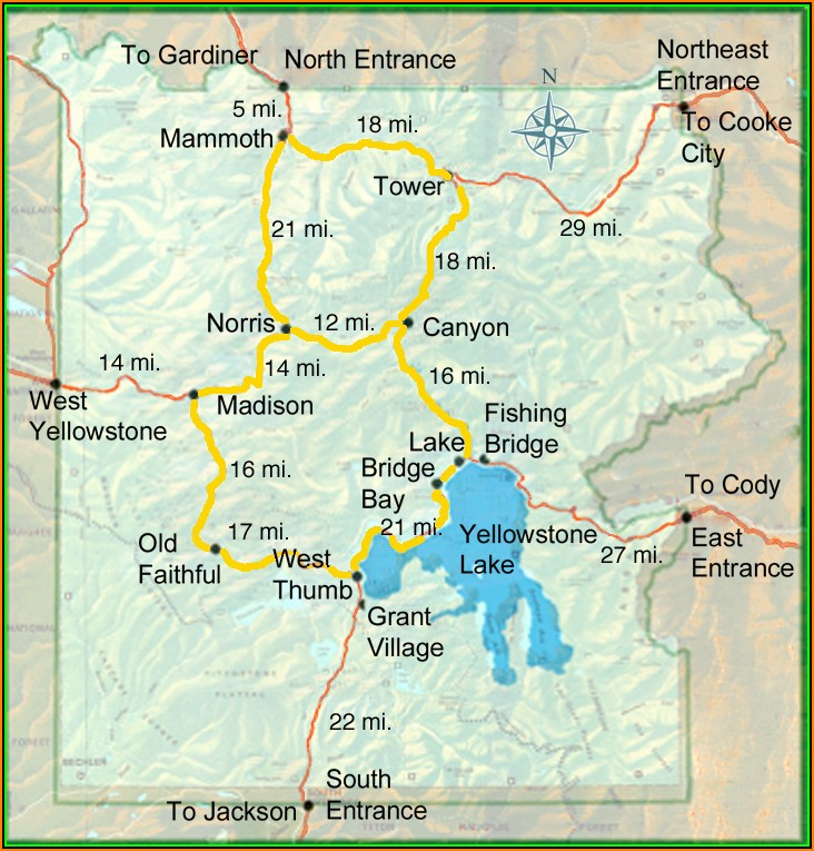 Map Of Hotels Near Yellowstone National Park