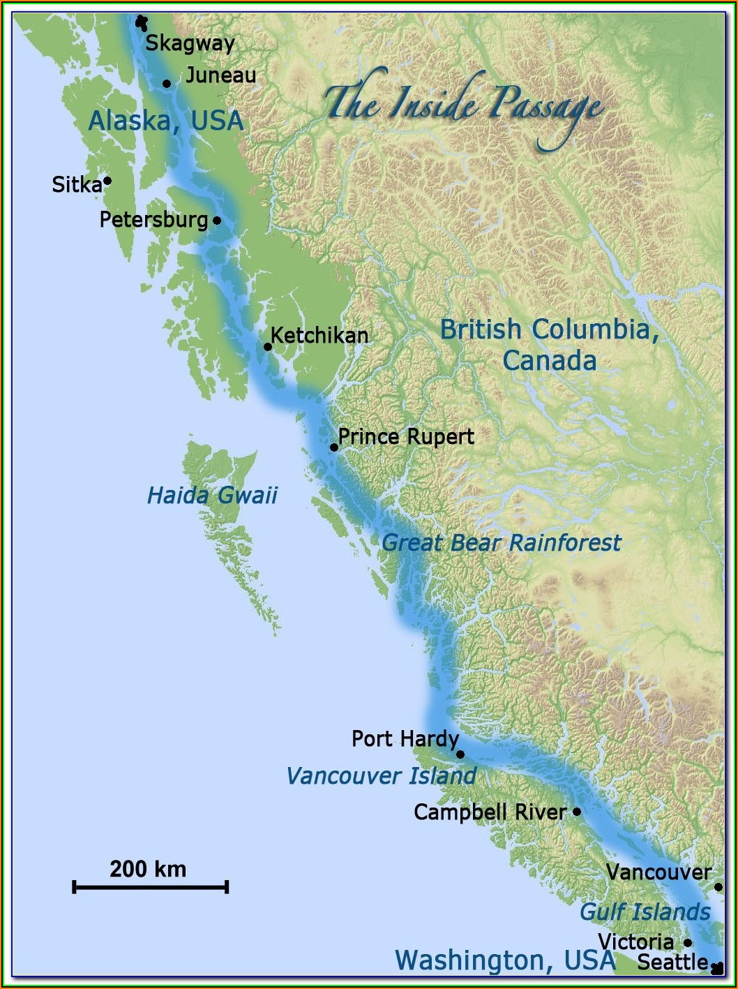Map Of Inside Passage Port Hardy To Prince Rupert