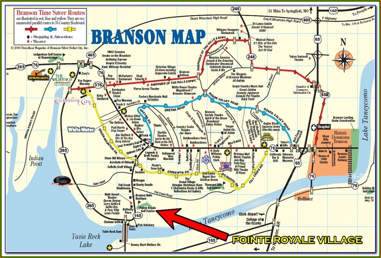 Map Of Lodging In Branson Mo