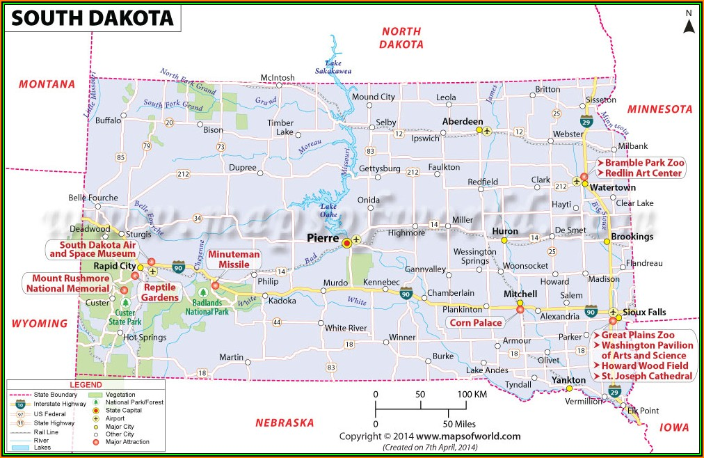 Map Of National Parks And Monuments In South Dakota