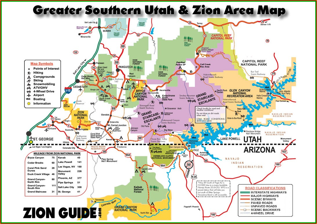 Map Of National Parks And Monuments In Utah