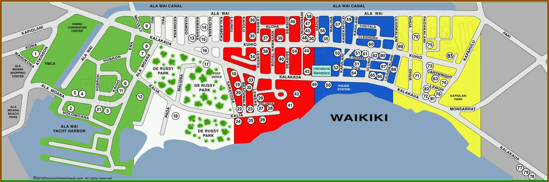 Map Of Oahu Hotels