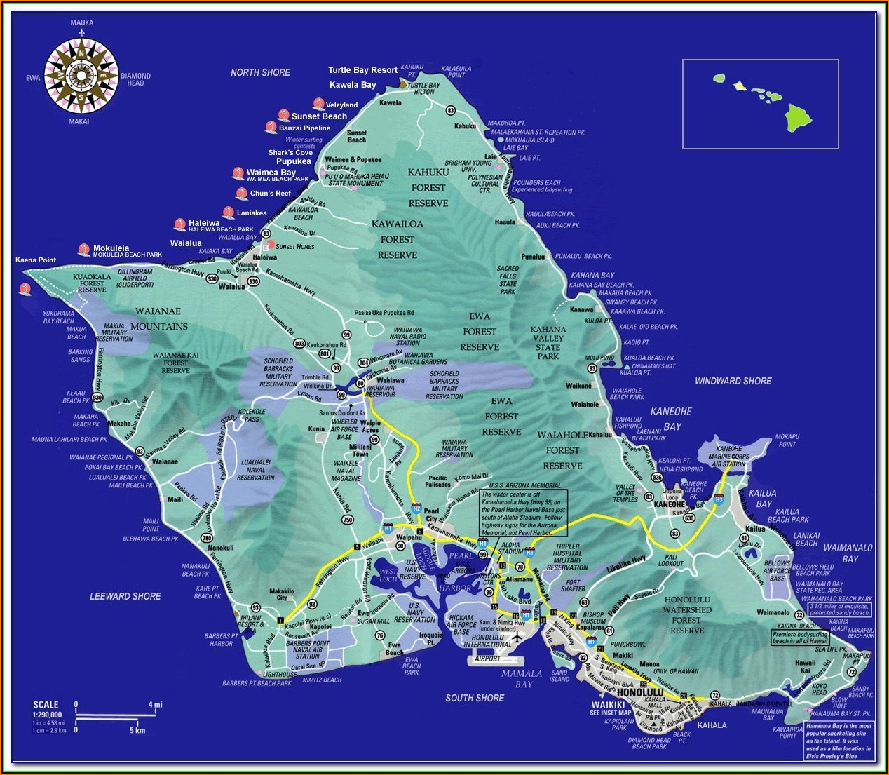 Map Of Oahu Waikiki Hotels