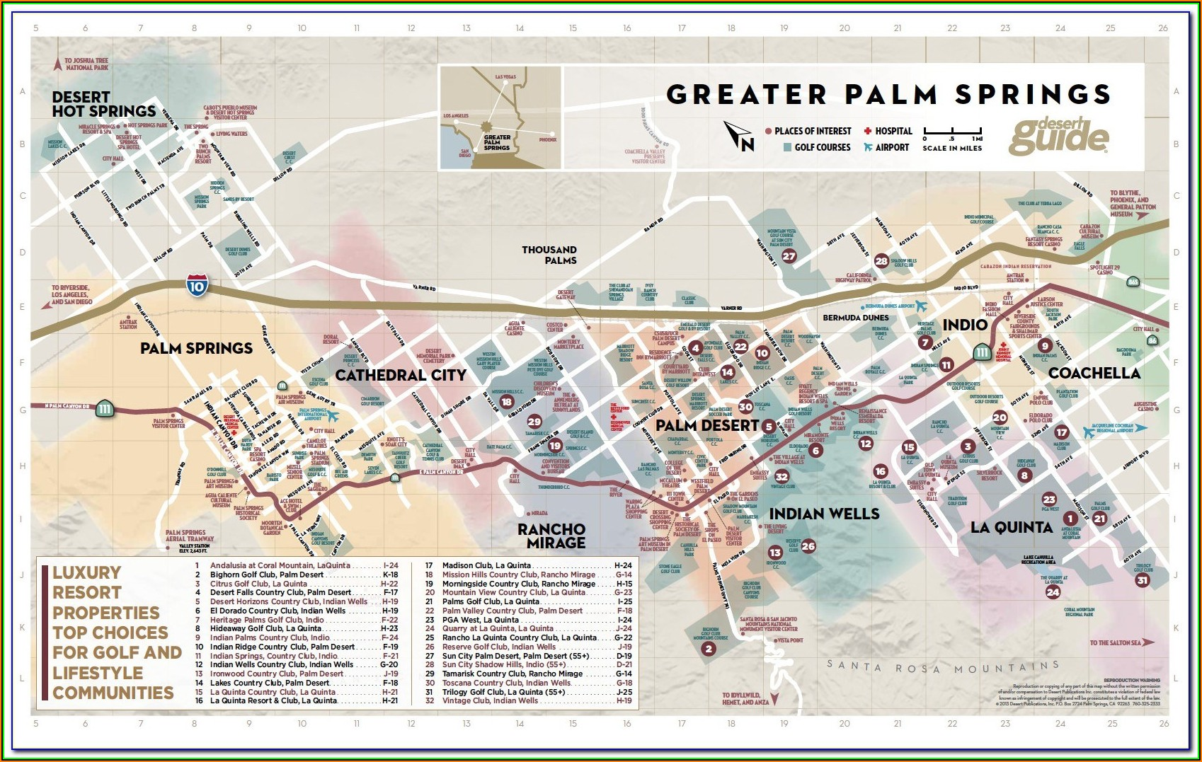 Map Of Palm Springs Area Hotels