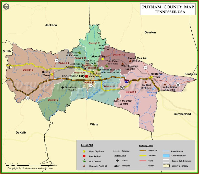 Map Of Putnam County Tennessee
