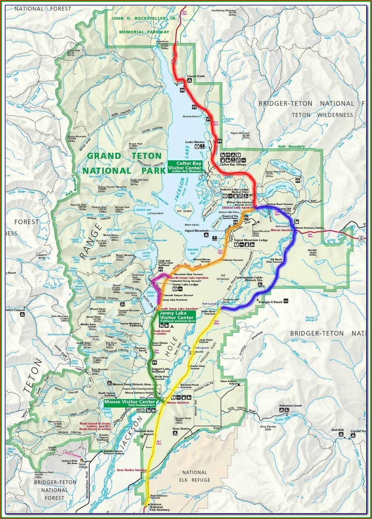 Map Of Tetons National Park