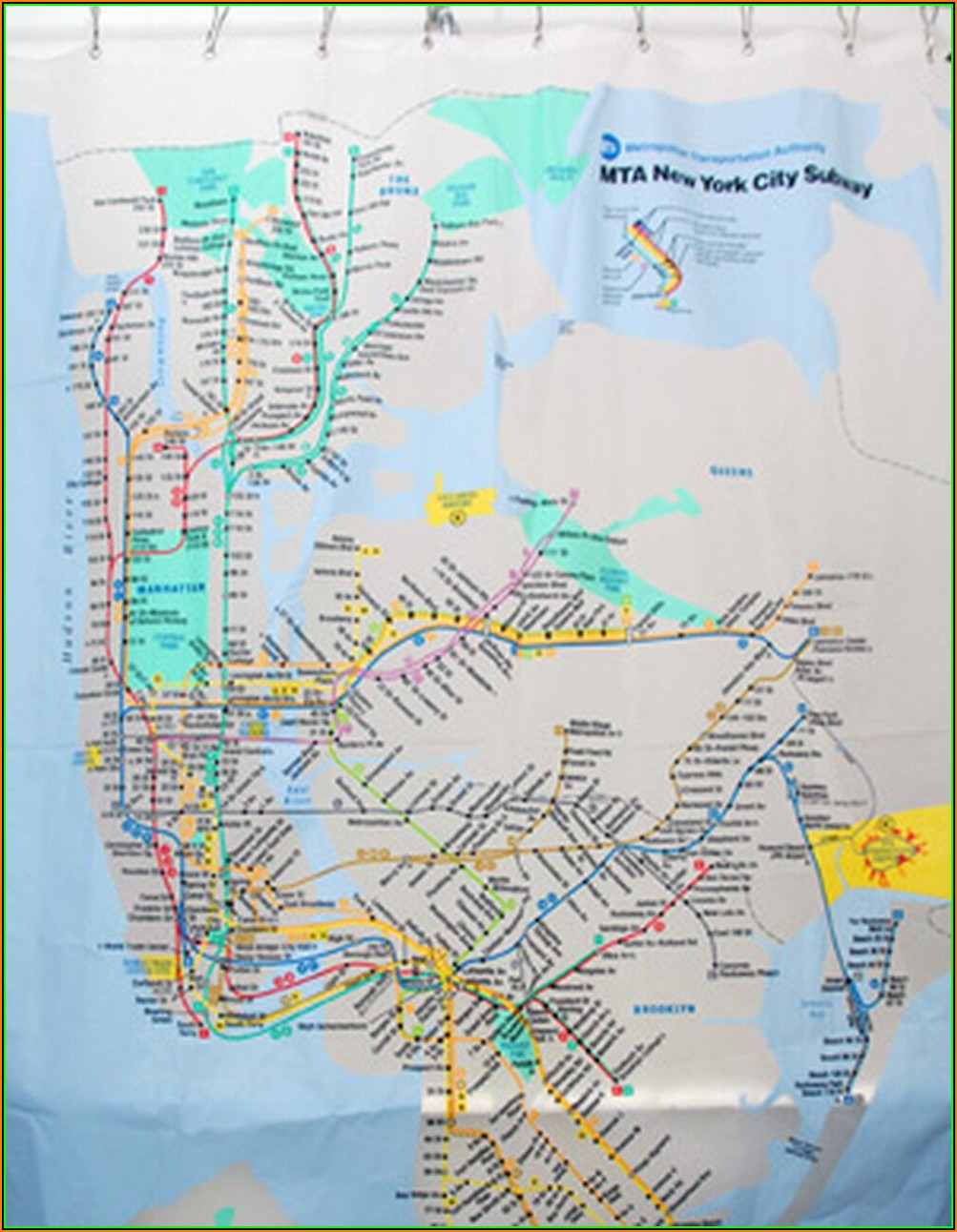Mta New York City Subway Map Shower Curtain