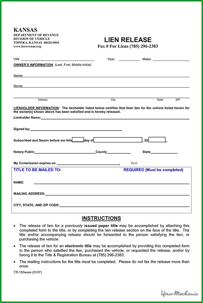 Oklahoma Vehicle Lien Release Form