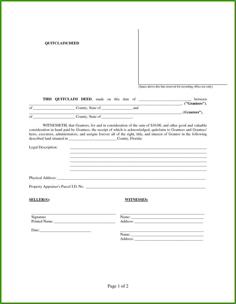 Orange County Fl Quit Claim Deed Form