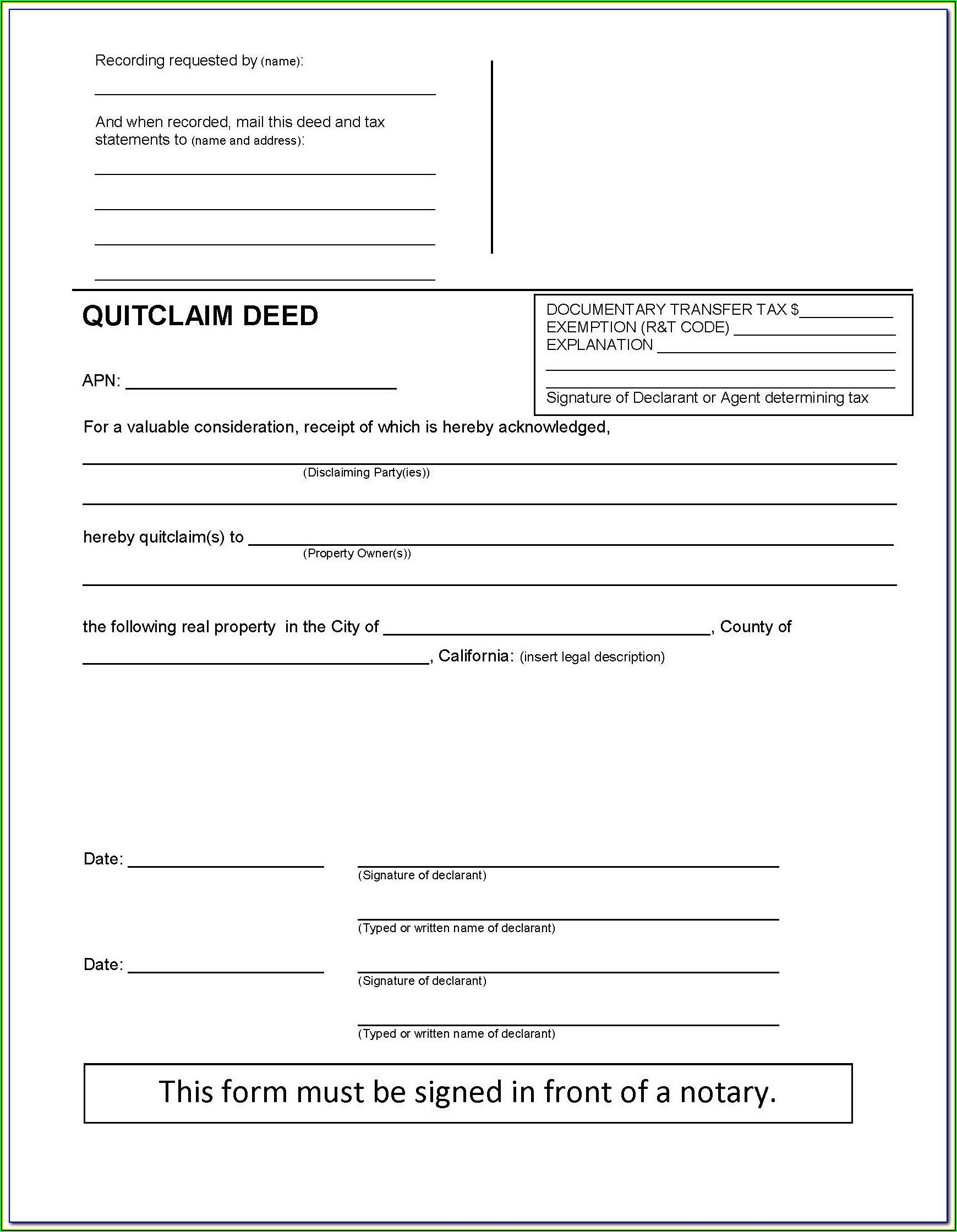 Orange County Florida Quit Claim Deed Form