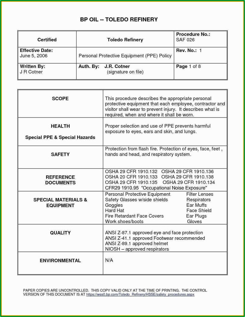 Osha Respirator Medical Evaluation Questionnaire Form