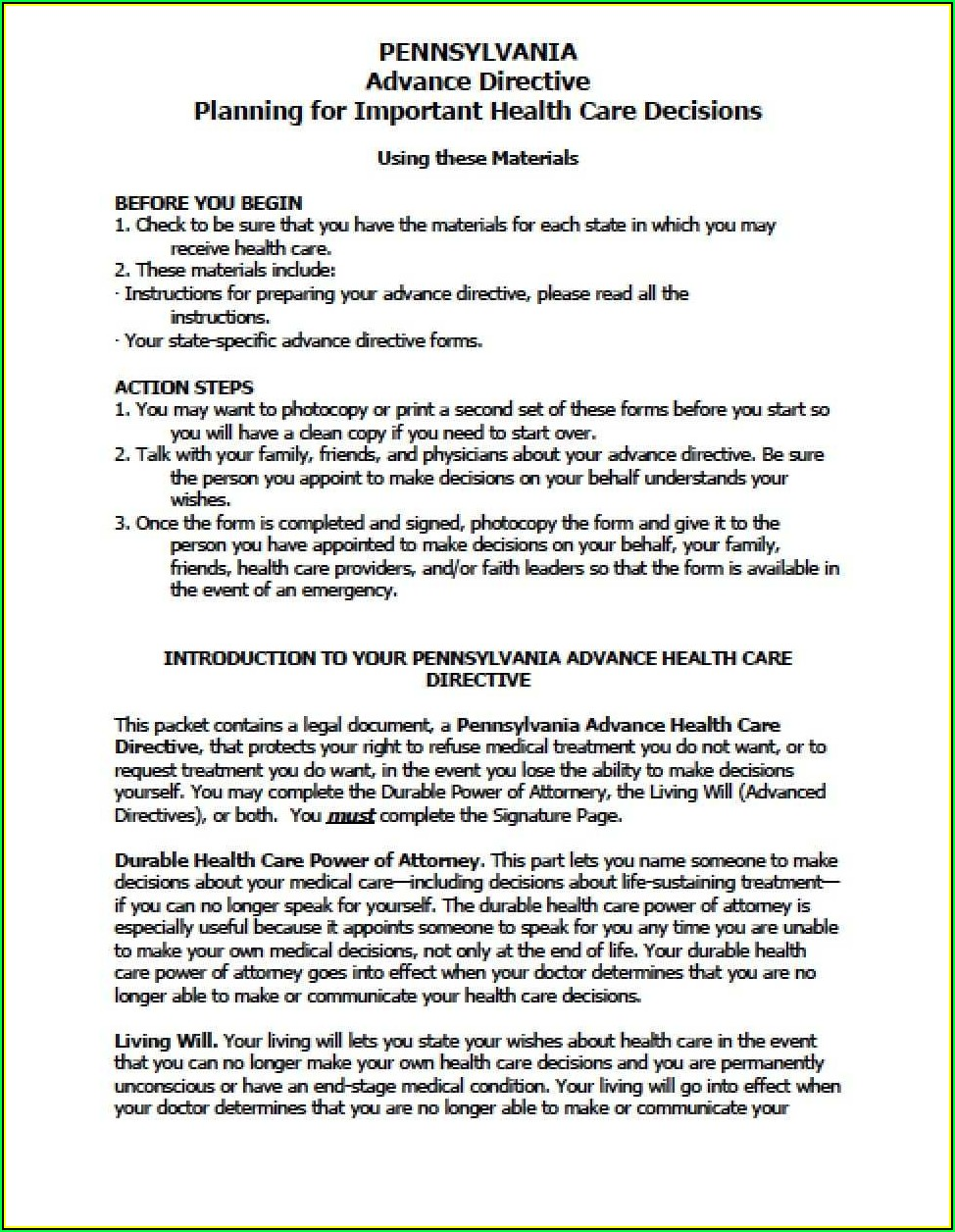Pa Durable Power Of Attorney For Health Care Form