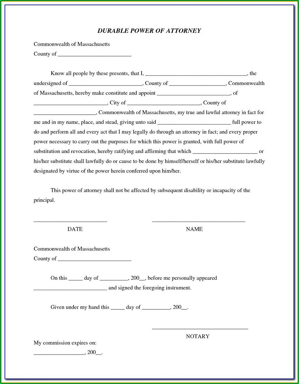 Pa Durable Power Of Attorney Form 2015