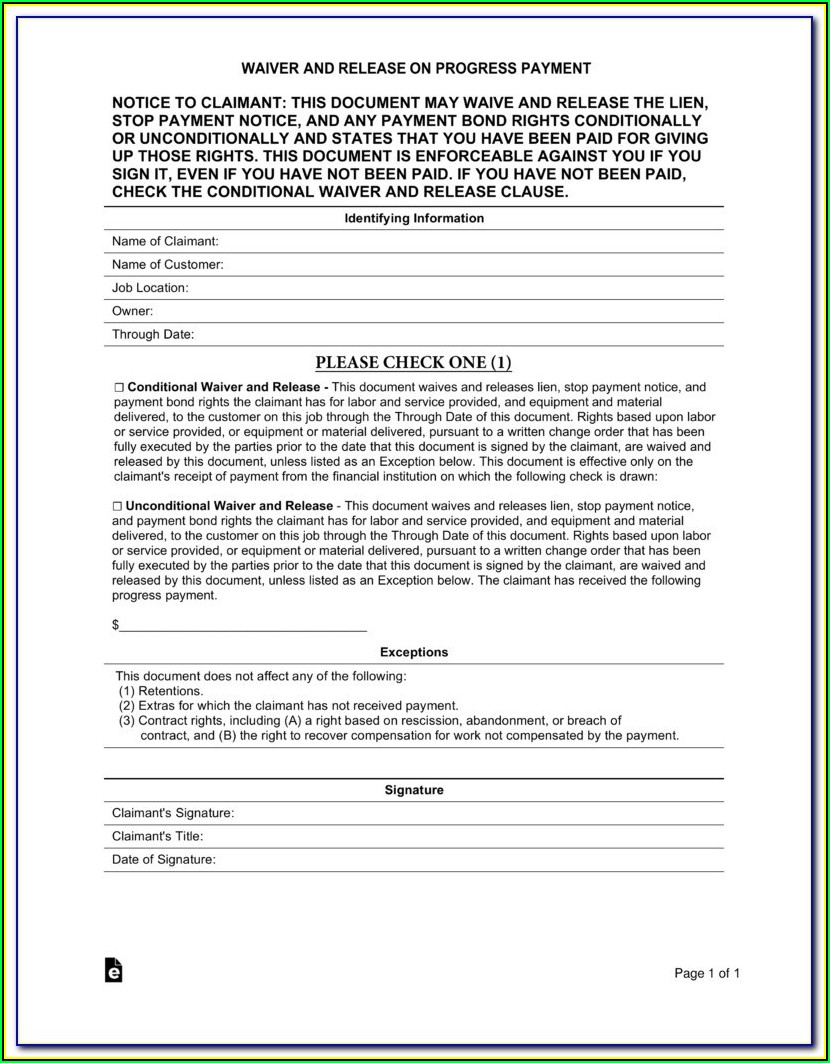 Partial Lien Release Form Florida