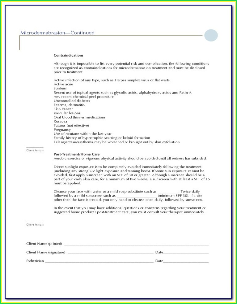 Pca Chemical Peel Consent Form