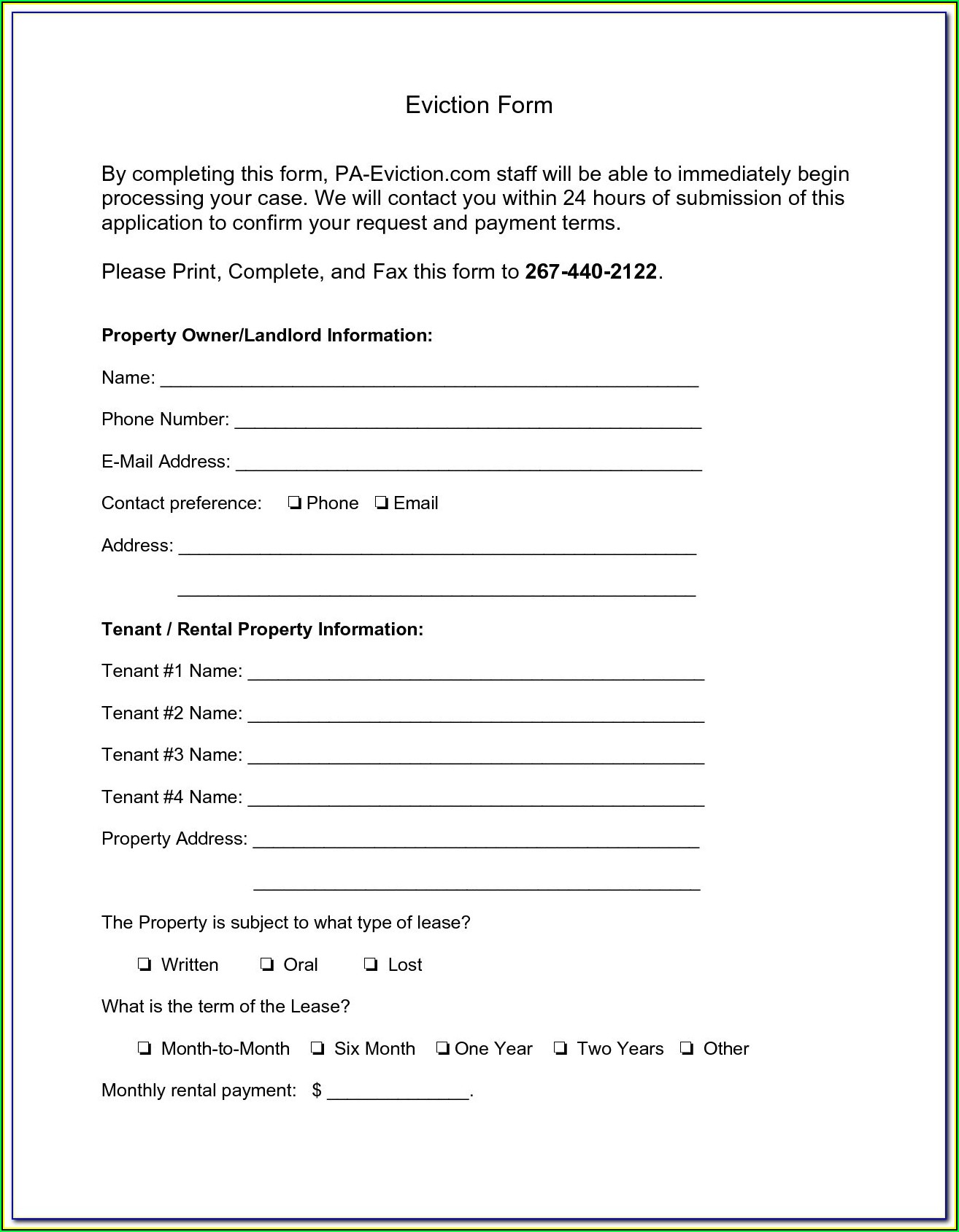 Pennsylvania Eviction Notice Form Free