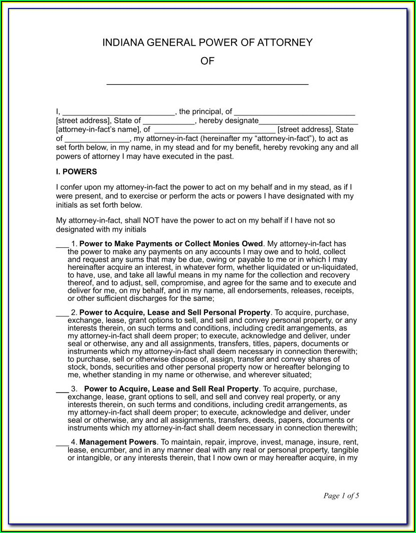 Power Of Attorney Form Indiana Health Care
