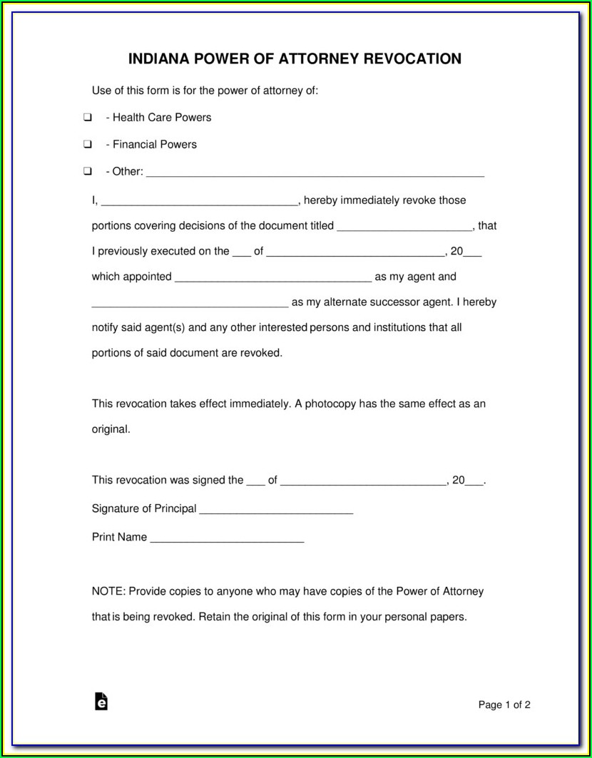 Power Of Attorney Form Indiana Medical