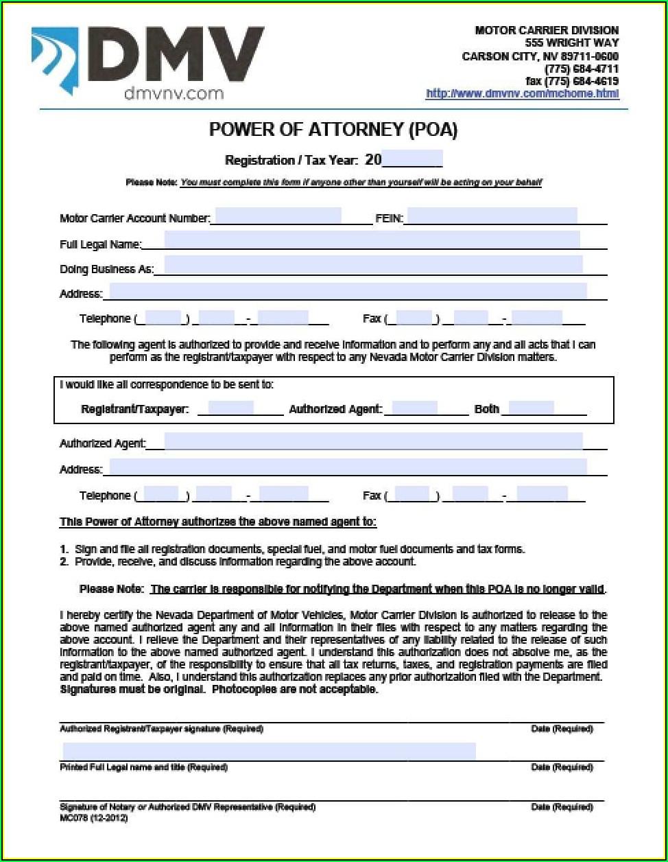 Power Of Attorney Form Nebraska Dmv