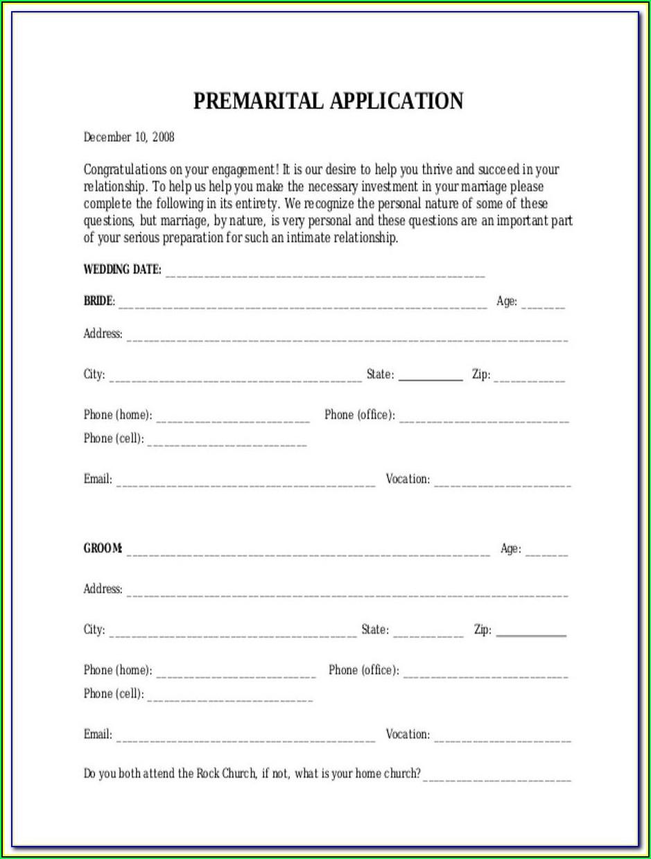 Premarital Counseling Form Oklahoma