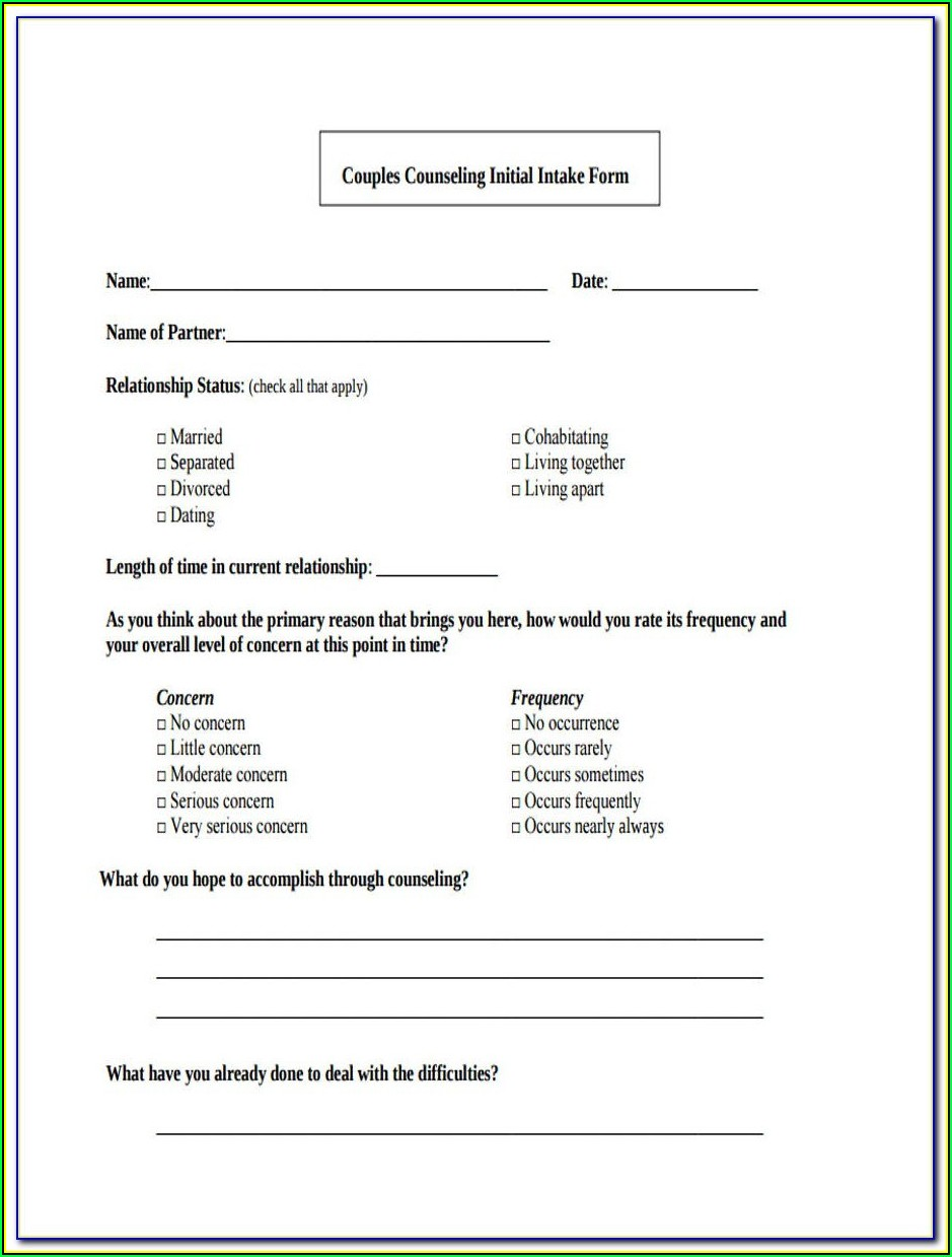 Premarital Counseling Intake Form