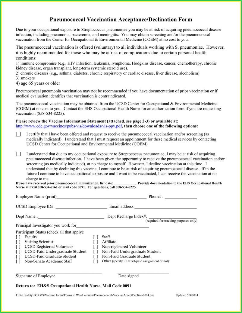 Prevnar 13 Vaccine Consent Form