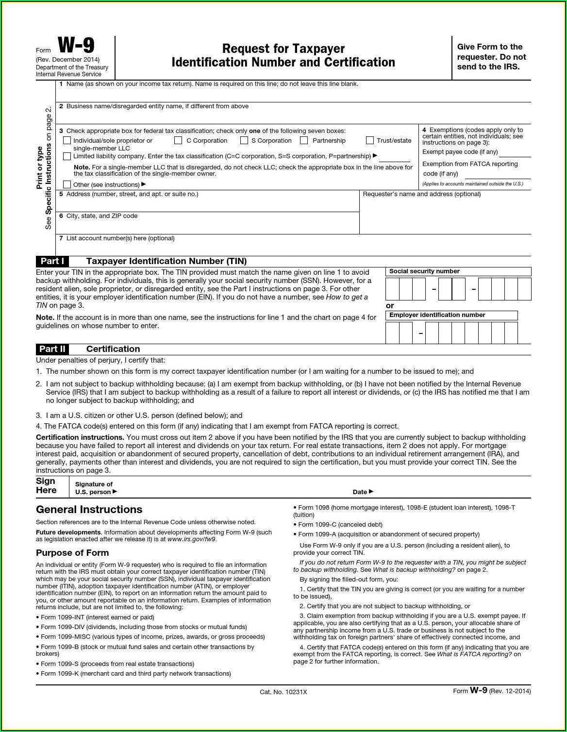 Print Off W 9 Form