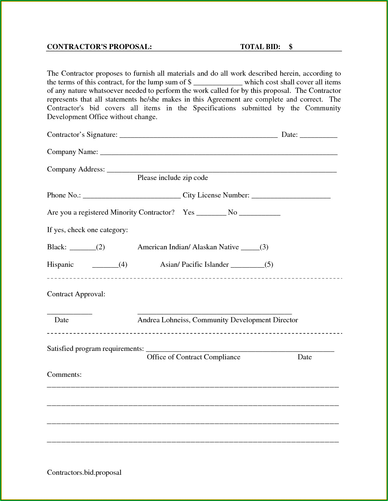 Printable Bid Proposal Forms