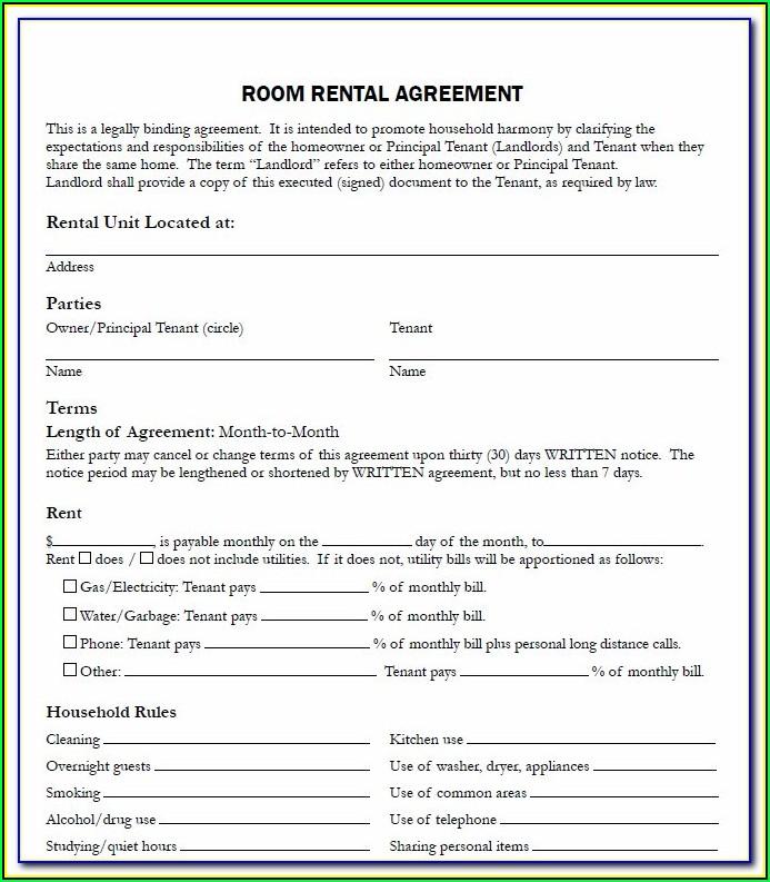 Printable House Rental Agreement Form