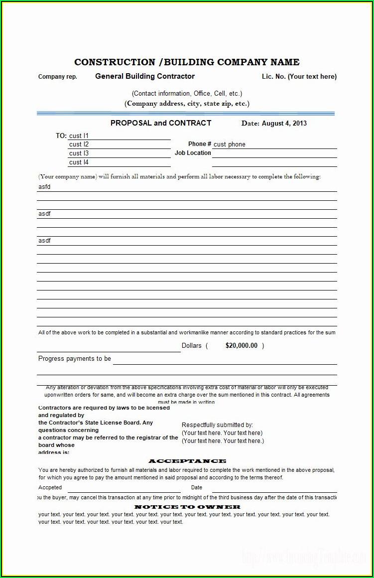 Printable Proposal Forms